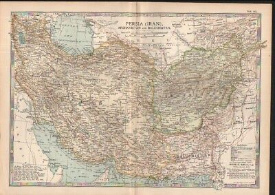 c1902 map of Persia - Iran, Afghanistan & Baluchistan by Adam and Charles Black