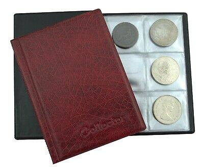 Brown Coin Album for 48 Large Size Coins CROWN 5 POUND Book Folder Collector BR1