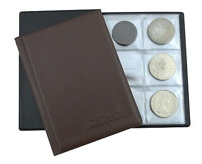 Claret Coin Album for 48 Large Size Coins CROWN 5 POUND Book Folder Collector
