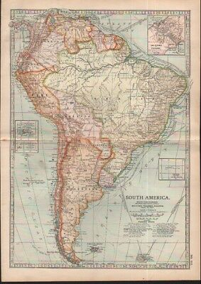 c1902 map of South America by Adam and Charles Black