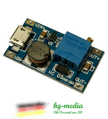 MT3608 DC-DC Step Up Boost Modul 2A Wandler Leistungsmodul 2V-24V auf 5V-28V
