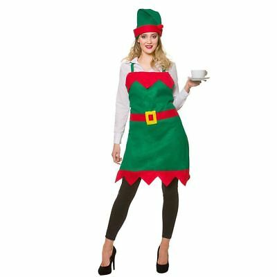 Adults Elf Apron Hat Set Christmas Pinny Fancy Dress Party Green Red One Size