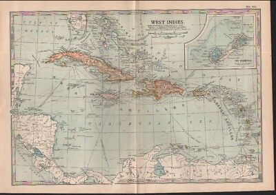 c1902 map of the West Indies  Adam and Charles Black