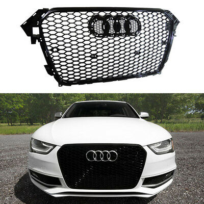 FOR 2012 2013 2014 2015 AUDi A4 B9 GLOSS BLACK RS4 TYPE MESH SPORT GRILLE B8.5