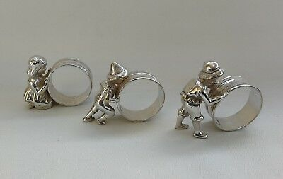 Vtg Set 3 Georgian Silver Plate Figural Girl & Boys Pushing Hoops Napkin Rings