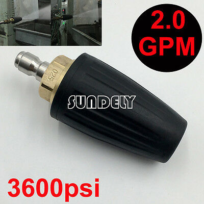 "2.0 GPM Pressure Washer Rotating Turbo Nozzle 248BAR/3600PSI 1/4"" Quick Connect"