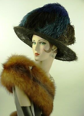 VINTAGE HAT 1910s BLACK LACED HORSEHAIR TITANIC HAT, OSTRICH FEATHERS & HAT PINS