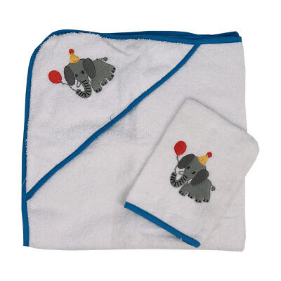 2 Pack Lily & Dan Elephant Baby & Toddler Towel & Mitt White & Blue 100% Cotton