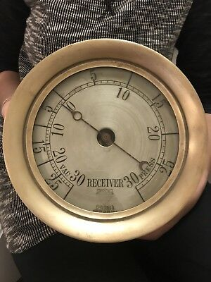 """⭐️Antique Early Star Brass Low Serial Receiver Steam Gauge Large Solid 10""""x4"""""""