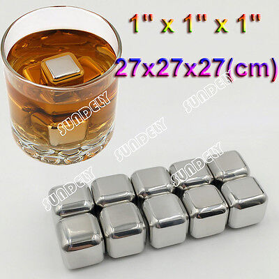 10 Pieces Stainless Metal Ice Cubes Whiskey Stones Beverage Cooler Drink Chiller