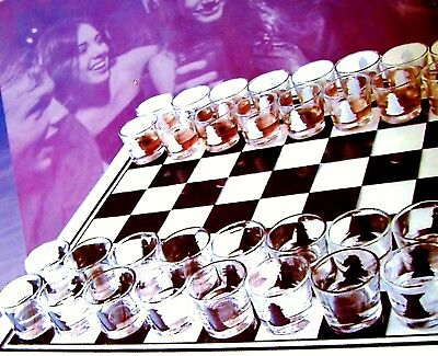 32 Shot Glass Chess Board Set Party Drinking Game Glasses Lot Hunt Camp MAN Gift