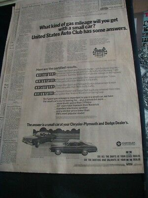 1974 plymouth duster newspaper print ad dodge dart local dealer paper ad