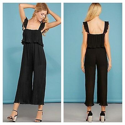 Darling Size 14 Black Pleated Culotte JUMPSUIT Flattering Evening Party Xmas £78