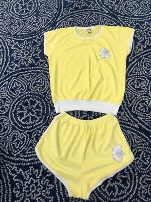 Vintage 1970's/80's Ladies Towelling Yellow And White Shorts And Top Size 16