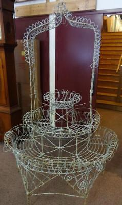 Antique Wire Garden Plant Stand in Original Paint Architectural Beauty!