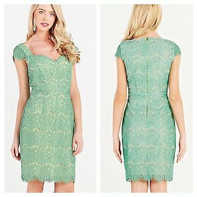 Darling Size 12 Charleen Mint Fitted Lace DRESS Races Party Xmas Evening Fab £95