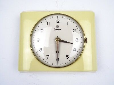 Junghans German Retro Vintage Ceramic Kitchen Wall Clock Yellow (Junghans era)