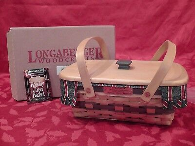 Longaberger Christmas Basket, 1996 Holiday Cheer Green Trim, Lid-Liner-Protector
