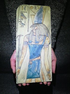 EGYPTIAN ANTIQUE ANTIQUITIES Horus Wearing The Crown Stela Relief 1290-1279 BC