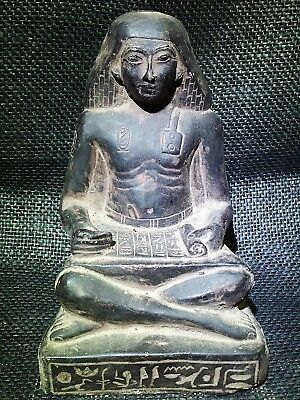 EGYPTIAN ANTIQUE ANTIQUITIES Seated Squatting Scribe Statue 1400-1356 BC
