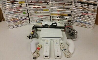 Nintendo Wii White Console (NTSC) with 2 sets of controllers TESTED - GAMES