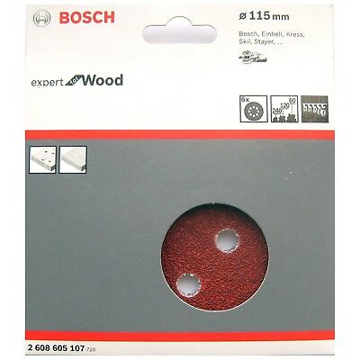 Bosch Sanding Discs 115mm for WOOD 8 Hole Mixed Grit 60 120 240  2608605107