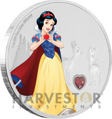 2019 Disney Princess With Gemstone - Snow White - 1 Oz. Silver Coin - Ogp Coa