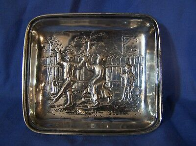 Antique Vntg GERMAN SILVER 800 Repousse Coin Pin Trinket Tray Dish Figural Scene