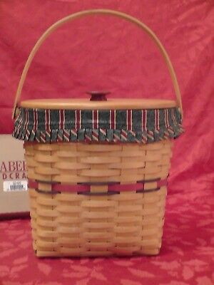Longaberger Christmas Basket, 1998 Winter Wishes Hostess, Lid, Liner, Protector