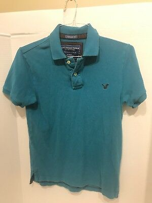 American Eagle Mens Xtra Small XS Blue Polo