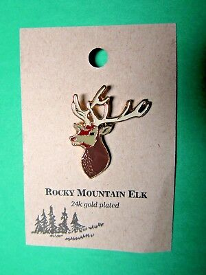 NATURES CHARMS ROCKY MOUNTAIN ELK 24k GOLD PLATED LAPEL HAT PIN (100)