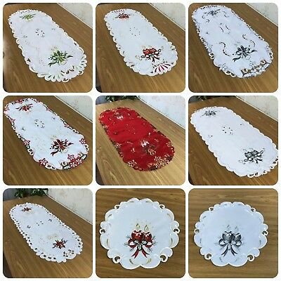 Embroidered Christmas Tablecloth Table Runner Oval Round Red White Santa New