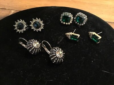 LOT Of Four Pairs Vintage Rhinestone Earrings 3 Clips 1 Pierced