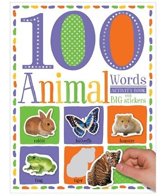 100 First Animal Words Activity Book with Big Stickers