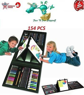 Art Set For Kids Gifts 154 Piece Supplies Drawing Painting Coloring Trifold Kit