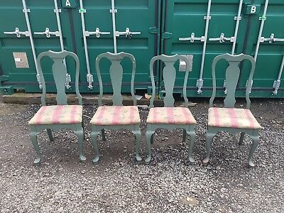 Antique Set of 4 Queen Anne Dining Chairs
