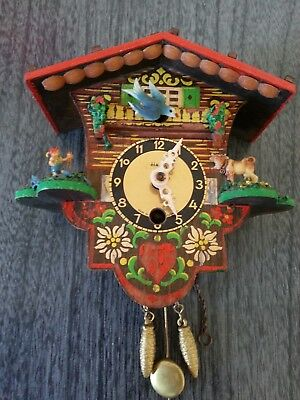 Made in Germany Vintage Heco Miniature Cuckoo Lux Clock without key