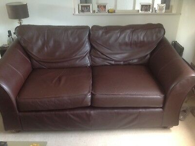 Marks And Spencer Large Brown Leather Abbey Sofa 2 3 Seater