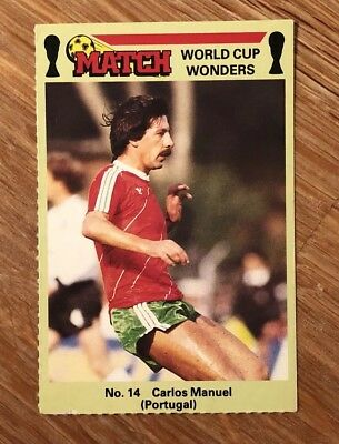 Carlos Manuel Match World Cup Wonders Football Trading Card Mexico 1986 Rare