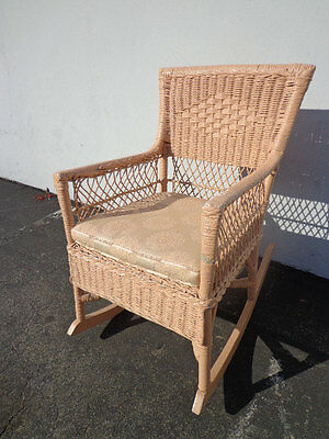 Rocking Chair Antique Woven Wicker Rocker Armchair Pink Vintage Shabby Chic Boho