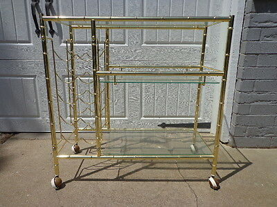 Tea Cart Gold Bamboo Regency Vintage Bar Serving Table Glam Bohemian Chic Boho