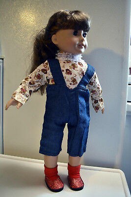 Jeans Dress Outfit fits 18inch American Girl Doll Clothes Football Bear & Shoes