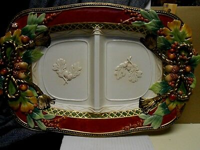 Fitz & Floyd Holiday Solstice Two Sided Platter Serving Plate Tray Divided