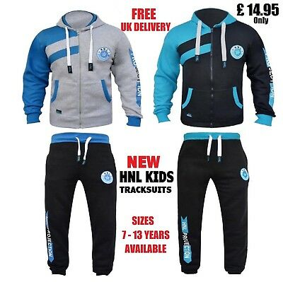 Boys Tracksuit Girls Jogging Suits Fleece Zip Hoodie Bottoms Sports Age 7-13 Hnl