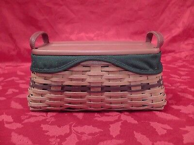Longaberger Christmas Basket, 2002 Traditions Green Trim, Lid, Liner, Protector