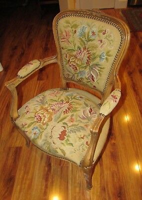 antique french needlepoint chair full size
