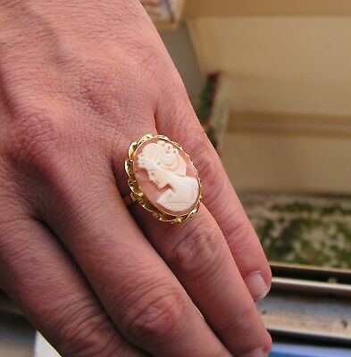 Antique Style Hand Carved Italian Shell Cameo Ring Size 7 Silver Gold