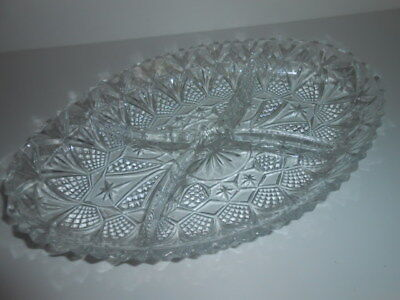 Vintage Crystal Cut Glass Relish Oval Serving Tray 4 Compartments / 5**********