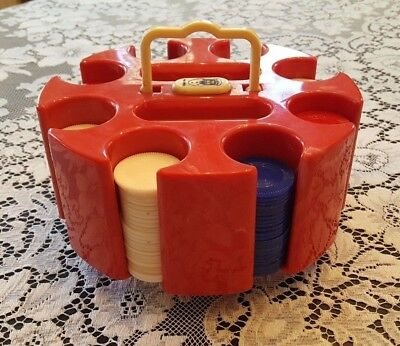 Vintage Red Marble Bakelite Poker Carousel Chip Caddy with 300 Chips