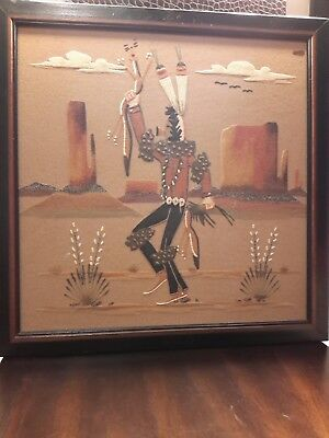 Vintage Native American Indian Sand Painting by Wilson Price Sr. YEI-BEI-CHAI